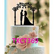 Decoración de Pasteles No personalizado Pareja Clásica Acrílico Matrimonio Negro Tema Clásico 1 OPP