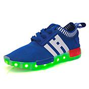 Chico Chica Zapatos Tul Primavera Verano Otoño Invierno Zapatillas de deporte Con Cordón Banda LED Para Deportivo Casual Azul marino