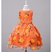 Vestido Chica de-Noche-Floral-Poliéster-Verano-Naranja / Rosa