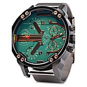 Hombre Reloj Militar Calendario Dos Husos Horarios Cuarzo Acero Inoxidable Banda Cool De Lujo Plata