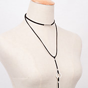 女性 チョーカー ペンダントネックレス 綿ネル 合金 ファッション ビンテージ ブラック ジュエリー パーティー 日常 カジュアル 1個