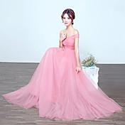 ドレスによるドレープ付きのオフラインの肩の床の長さチュールの花嫁介添人ドレス