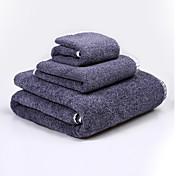 バスタオルセット ブルー ブラウン,刺繍 高品質 コットン100% タオル