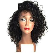 上!!!アフロカーリーレースフロントウィッグ、女性用耐人工毛かつらを加熱短い自然な黒色ボブ