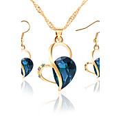 Collar / pendientes Los sistemas nupciales de la joyería Adorable Zirconia Cúbica Brillante Legierung Azul Oscuro Morado Verde Oscuro