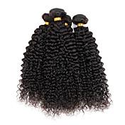 人毛 インディアンヘア 人間の髪編む Kinky Curly カールつけ毛 ヘアエクステンション 4個 ナチュラルカラー