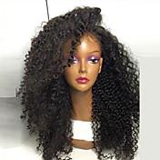 在庫の最高品質の高品質の髪合成天然黒色変態カーリーレースの前部かつら