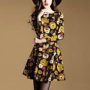 女性 ストリートファッション お出かけ Aライン ドレス,プリント ラウンドネック 膝上 長袖 イエロー ポリエステル 秋 ミッドライズ マイクロエラスティック ミディアム