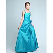 Lanting Bride® Gulvlang Taft Junior brudepikekjole A-linje / Prinsesse Spagettistropper Naturlig med Blomst(er) / Sidedrapering