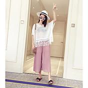 De las mujeres Pantalones Perneras anchas-Simple Rígido-Rayón