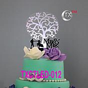 ケーキトッパー 非パーソナライズ 夫妻 アクリル 結婚式 花 ブラック クラシックテーマ 1 ギフトボックス