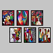 抽象的 ファンタジー 額入りキャンバス 額入りセット ウォールアート,ポリ塩化ビニル 材料 ブラック マットなし フレーム付き For ホームデコレーション フレームアート