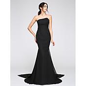 Trompeta / Sirena Sin Tirantes Watteau Raso Evento Formal Vestido con Cuentas por TS Couture®