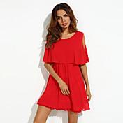 Feminino Solto Chifon Vestido,Casual Tamanhos Grandes Sensual Fofo Sólido Decote Redondo Acima do Joelho Manga Curta Verão Cintura Alta
