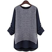 De las mujeres Sofisticado Tallas Grandes Primavera Camiseta,Escote Redondo Bloques Manga Larga Poliéster Azul / Blanco Medio