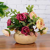 11 11 Větev Hedvábí Růže Květina na stůl Umělé květiny 16CM