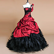 ボールガウンワンショルダーコートトレインサテンフォーマルイブニングドレスアップリケ付きスカート