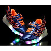 女の子用-カジュアル-PUレザー-フラットヒール-ローラースケートシューズ 靴を点灯-スニーカー-ブラック オレンジ ダークレッド ネービーブルー