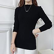 Mujer Regular Pullover Casual/Diario Simple,Un Color Rosa Blanco Negro Escote Redondo Manga Larga Rayón Primavera Medio Microelástico