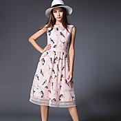 婦人向け シンプル カジュアル/普段着 シース ドレス,フラワー ラウンドネック ミディ ノースリーブ ピンク コットン 夏