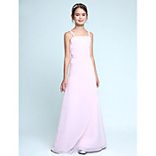 Lanting Bride® Floor-length Chiffon Junior Bridesmaid Dress Sheath / Column Spaghetti Straps Natural with Ruffles / Side Draping