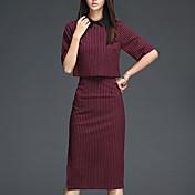 女性 カジュアル/普段着 秋 セット スカート スーツ,シンプル シャツカラー ストライプ レッド コットン ハーフスリーブ ミディアム