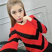 Mujer Regular Pullover Noche Casual/Diario Simple,Bloques Azul Rosa Rojo Blanco Negro Morado Escote Redondo Manga Larga Algodón Otoño Fino
