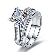 バンドリング 純銀製 ラインストーン 模造ダイヤモンド ファッション シルバー ジュエリー 結婚式 1セット