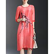 Mujer Corte Ancho / Recto Vestido Formal Sofisticado,Floral Escote Redondo Hasta la Rodilla 1/2 Manga Rojo Rayón Primavera Tiro Alto
