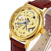 CAGARNY Hombre Reloj Esqueleto Reloj de Moda Reloj de Pulsera El reloj mecánico Cuerda Automática Huecograbado Cuero Auténtico Banda