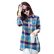 Mujer Simple Casual/Diario Primavera / Otoño Camiseta,Cuello Camisero A Cuadros Manga Larga Poliéster Azul Medio