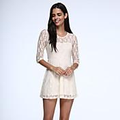 De las mujeres Línea A Vestido Vintage Sobre la rodilla Escote Redondo Encaje