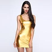 De las mujeres Corte Bodycon Vestido Sexy / Fiesta / Para Trabajo / Casual Un Color Mini Escote en U Profunda Poliuretano