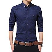 男性用 プリント カジュアル / オフィス / フォーマル / プラスサイズ シャツ,長袖 コットン ブラック / ブルー / レッド / ホワイト