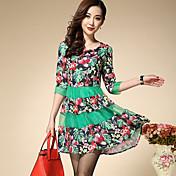 Mujer Línea A Vestido Noche / Casual/Diario / Tallas Grandes Chic de Calle,Floral / Retazos Escote Redondo Sobre la rodilla 3/4 Manga