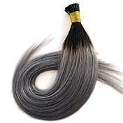 14-24 ombre plata 1b pre gris extensión del pelo de la queratina en condiciones de servidumbre punta plana 1 g de cabello fushion / s