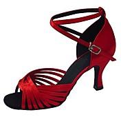 Moguće personalizirati-Ženske-Plesne cipele-Latino / Jazz / Salsa / Cipele za swing-Saten-Potpetica po mjeri-Smeđa / Žuta / Crvena