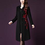 Mujer Simple Tallas Grandes / Casual/Diario Bordado Abrigo,Escote Chino Manga Larga Otoño / Invierno Poliéster Rojo / Negro Grueso