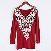 Mujer Chic de Calle Casual/Diario Otoño Camiseta,Escote Redondo Un Color Manga Larga Algodón Rojo / Negro / Marrón Medio