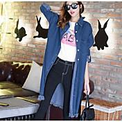 女性 カジュアル/普段着 秋 ソリッド デニムジャケット,シンプル ラウンドネック ブルー その他 長袖