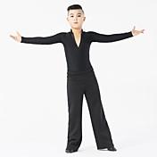 Baile Latino Accesorios Niños Representación Fibra de Leche Corte 2 Piezas Mangas largas Cintura Media Top Pantalones