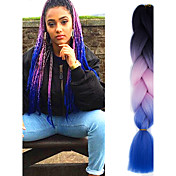 "Preto luz rosa safira ombre crochet 24 ""yaki kanekalon fibra 100g 3 tom jumbo tranças cabelo sintético"
