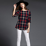 Mujer Simple / Chic de Calle / Sofisticado Noche / Casual/Diario / Tallas Grandes Para Todas las Temporadas Camiseta,Escote RedondoA