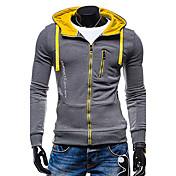 Hombre La chaqueta con capucha Deportes Activo Sencillo Un Color Microelástico Poliéster Manga Larga Otoño Invierno