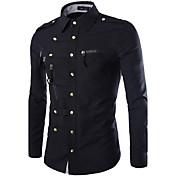 男性 カジュアル/普段着 シャツ,シンプル シャツカラー ソリッド ブルー / レッド / ブラック / グリーン コットン 長袖