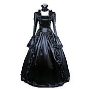 Badpak/Jurken Gothic Victoriaans Cosplay Lolita Jurken Zwart Effen Lange Mouw Lange Lengte Kleding Voor Dames Satijn