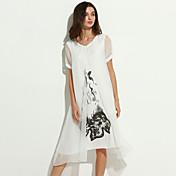 vendimia / impresión sencilla de las mujeres más el vestido / swing de tamaño, destacan la ropa hasta la rodilla