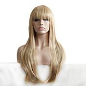 Mujer Pelucas sintéticas Sin Tapa Largo Ondulado Rubio Con flequillo Peluca natural Peluca de Halloween Peluca de carnaval Las pelucas