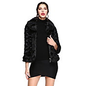 女性 カジュアル/普段着 冬 ソリッド ファーコート,シンプル ブラック フェイクファー 長袖 厚手