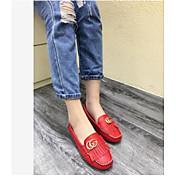 MujerConfort-Zapatos de taco bajo y Slip-Ons-Casual-Cuero de Cerdo-Rojo / Blanco / Gris